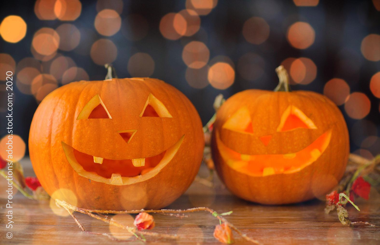 """Am 31. Oktober 2020 ist wieder """"Halloween"""". Seit gut 20 Jahren wächst die Fangemeinde für die Nacht vor Allerheiligen auch in Deutschland. Vor allem Kinder erleuchten die länger werdenden Nächte mit Lampions oder mit von Kerzenschein erhellten ausgeschnitzten Kürbissen und gehen auf die Jagd nach Süßigkeiten wie Bonbons, Fruchtgummis und Schokolade."""