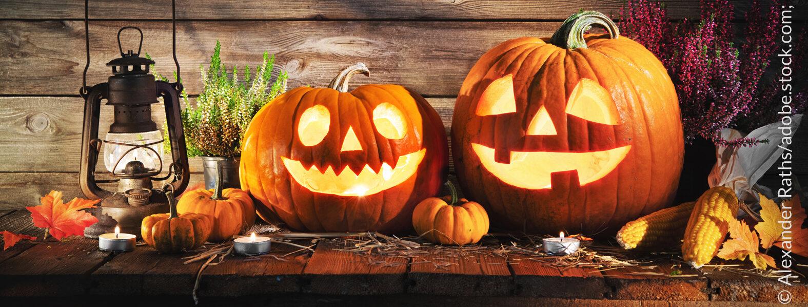 """Am 31. Oktober ist wieder """"Halloween"""". Vor allem Kinder erleuchten die länger werdenden Nächte mit Lampions oder mit von Kerzenschein erhellten ausgeschnitzten Kürbissen und gehen auf die Jagd nach Süßigkeiten wie Bonbons, Fruchtgummis und Schokolade."""